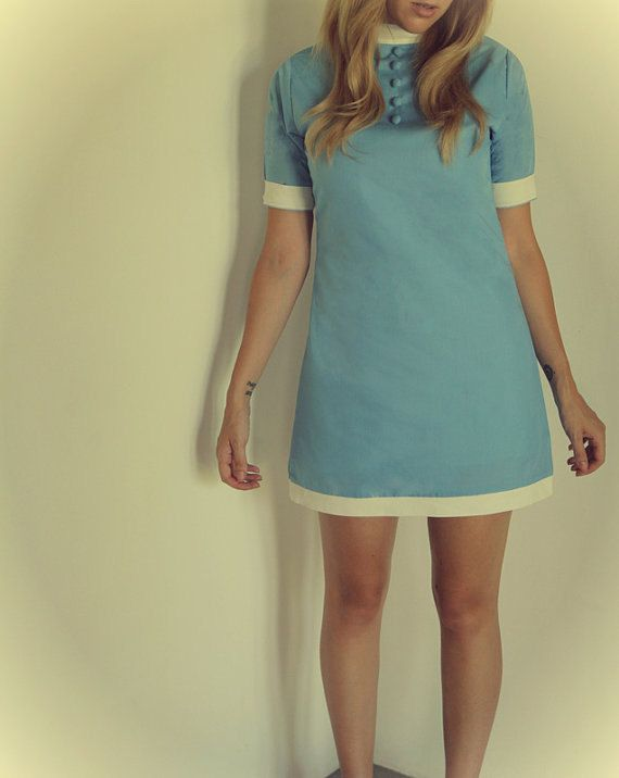 mod dress 1960s blue and white short sleeves by FrenchieYork