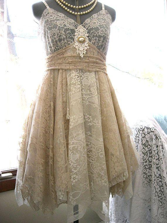 Beige and Ivory tattered dress, rag doll pixie dress, alternative prom dress, alternative wedding dress, fairy dress, fey dress, woodland