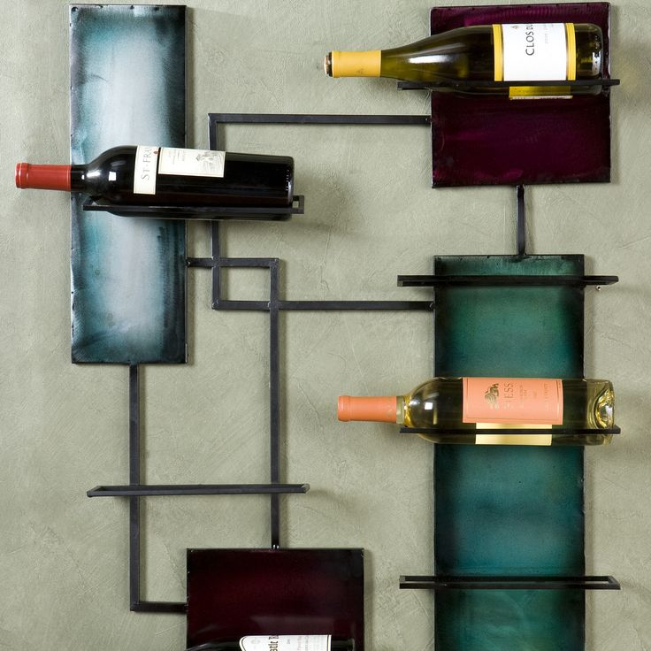 This wine rack has lots of panels for displaying wine made with steel plates and