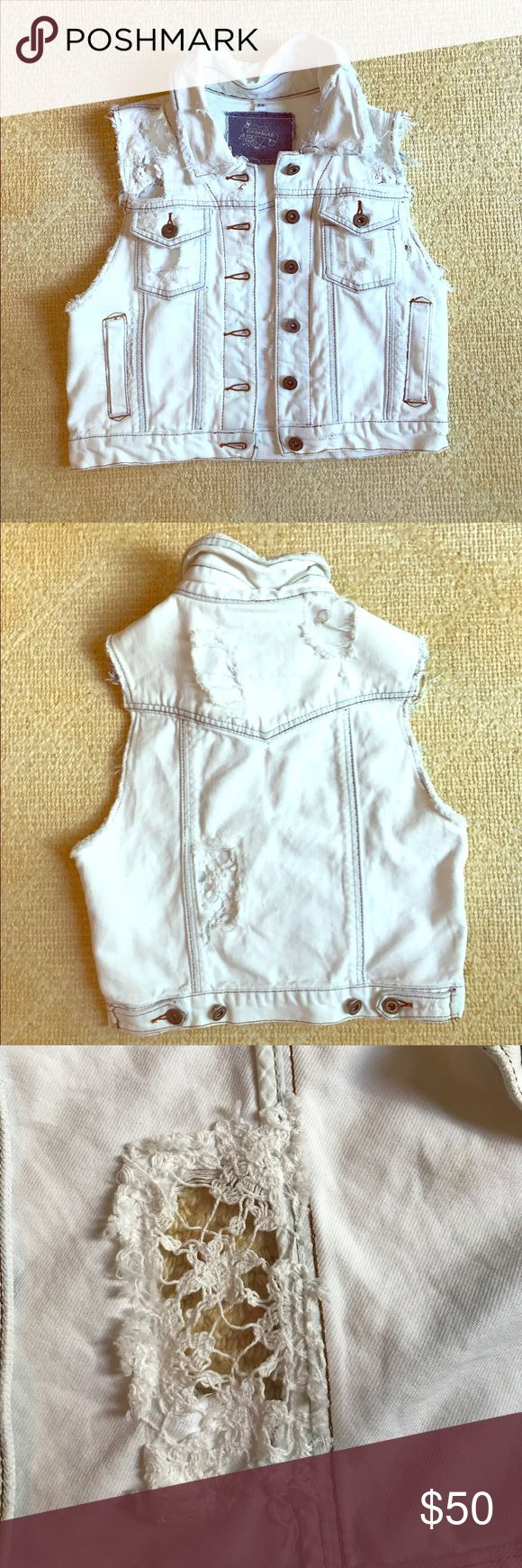 White denim vest White denim vest with intricately detailed rips (meant to be there). In great shape and a great addition to any summer outfit! :) Carmar Other