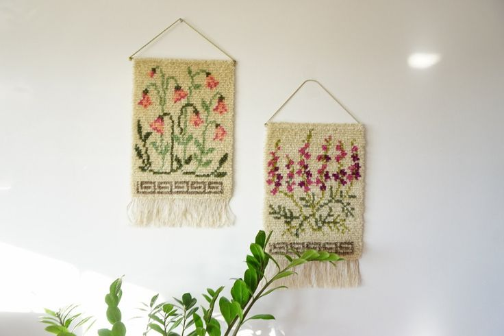 Swedish Wool Rya rug Wall Hanging with Swedish bell flower/Danish Rya Shag Rug by ScandicDiscovery on Etsy