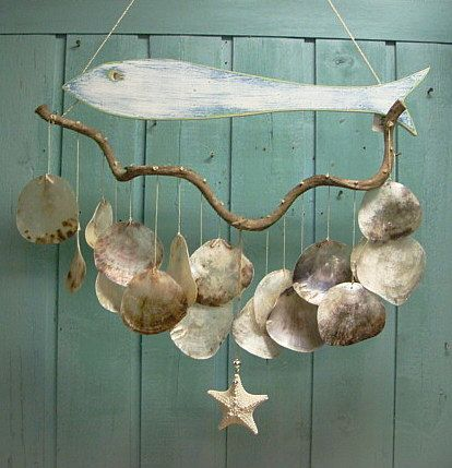 Fish Driftwood Windchime Mobile Capiz Seashell by CastawaysHall, $49.00