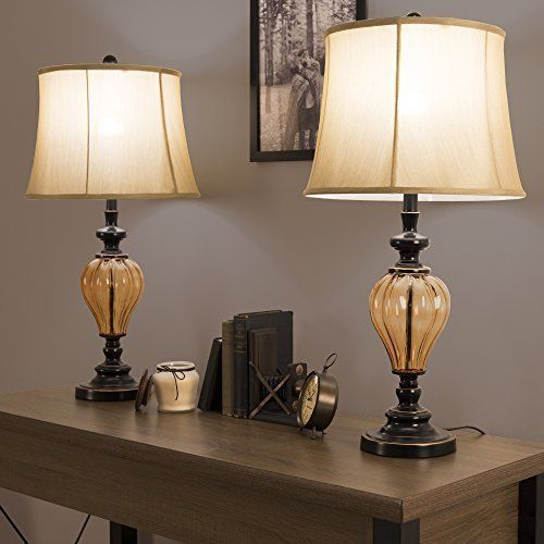 Vintage Table Lamps Set of 2 Contemporary Home Decoration Light Amber Style #Unbranded #Contemporary