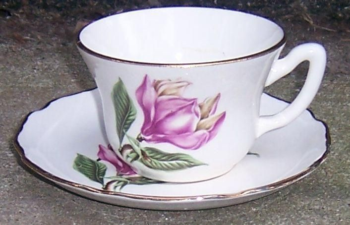Vintage Sabin China Cup and Saucer with Large Pink Tropical Flower and Gold Trim