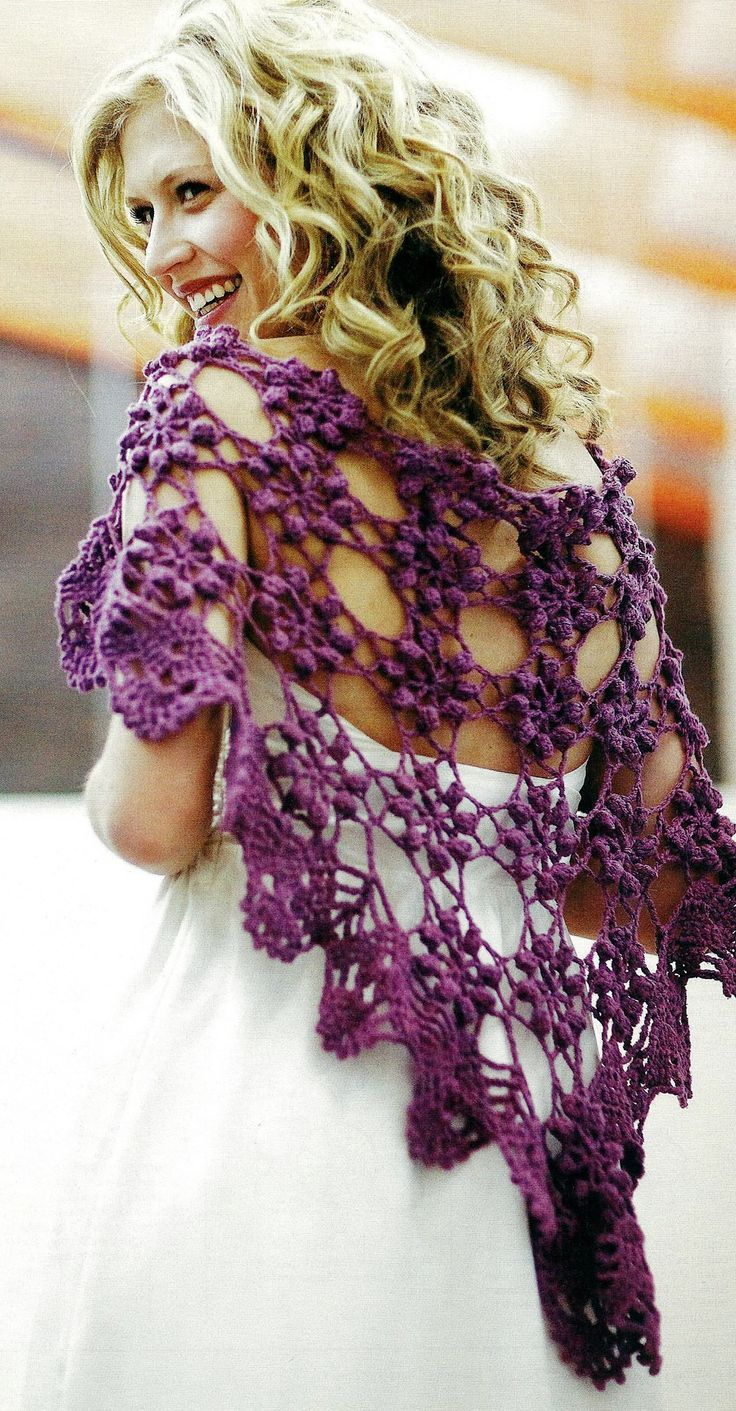 DIY Crochet Shawlette. This could be really pretty for a fall wedding over the dress.#purplewedding #weddingdressidea Repin by Inweddingdress.com