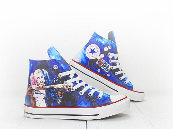 Harley Quinn Suicide Squad custom painted Converse Chuck