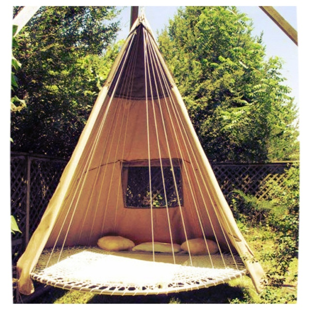 Old tr&oline teepee hammock thing?...heck yes!! This would be so cool to hang out on summer nights! | Cool Stuff | Pinterest | Tr&olines & Old trampoline teepee hammock thing?...heck yes!! This would be so ...