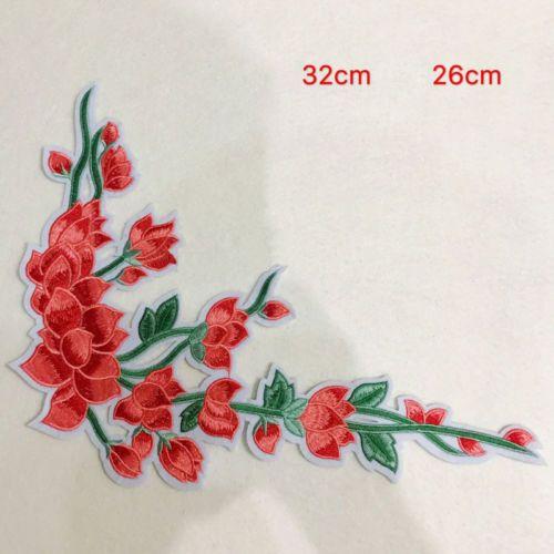 Rote-Blumen-Rose-Aufbuegler-Buegelbilder-Patches-Patch-Buegelflicken-Aufnaeherbild-039