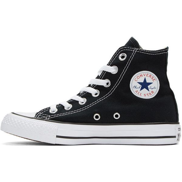 Converse Black and White Classic Chuck Taylor All Star OX High-Top... (110 BRL) ❤ liked on Polyvore featuring shoes, sneakers, converse, black and white high tops, canvas lace up sneakers, high top shoes, rubber toe sneakers and hi top canvas sneakers