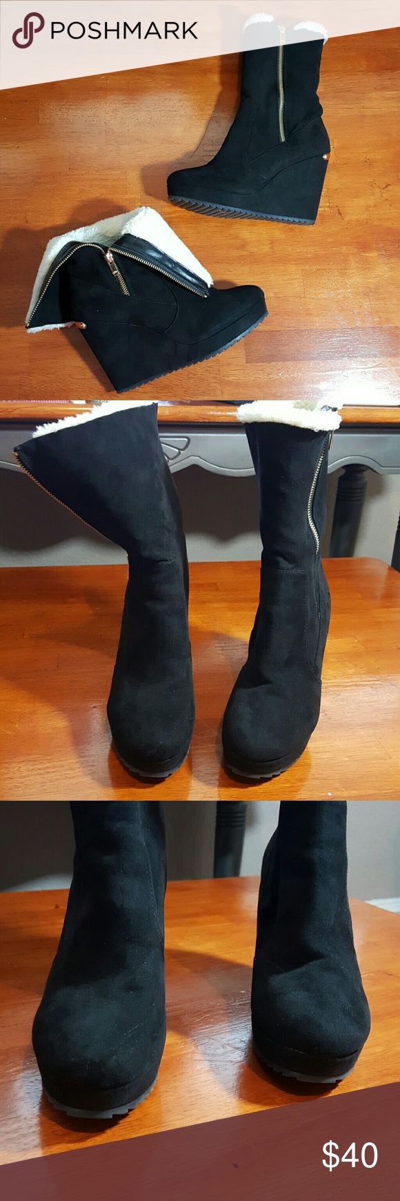 Juicy couture boots Black suede..white furry inside...wedged..gold logo on back of boots..looks good but does have a small crease on front right shoe... Juicy Couture Shoes Heeled Boots