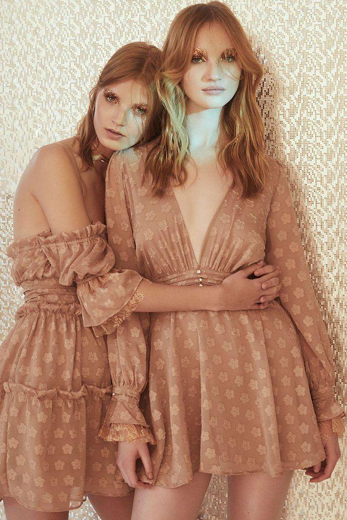 FOR LOVE & LEMONS - Modern Love Long Sleeve Dress - Honey