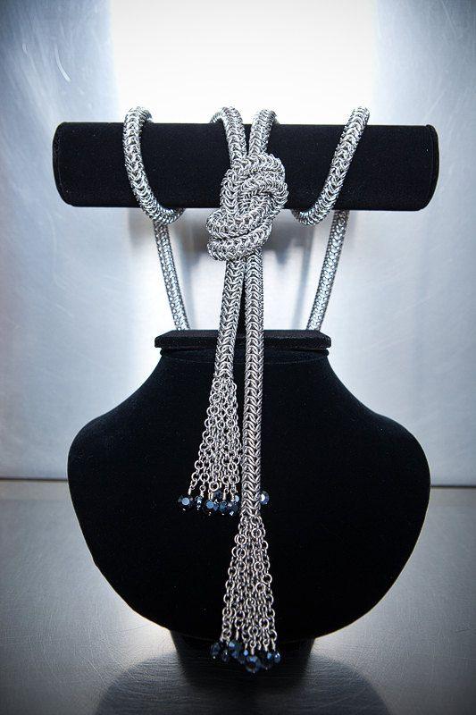 Aluminum Roundmaille Tie-Style Belt with Aluminum Simple Chain and Swarovski Black Satin Crystal Tassels