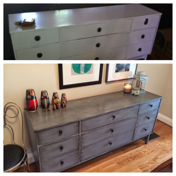 Credenza Makeover / Rehab. Behr Ancient Pewter + Valspar Antiquing Glaze