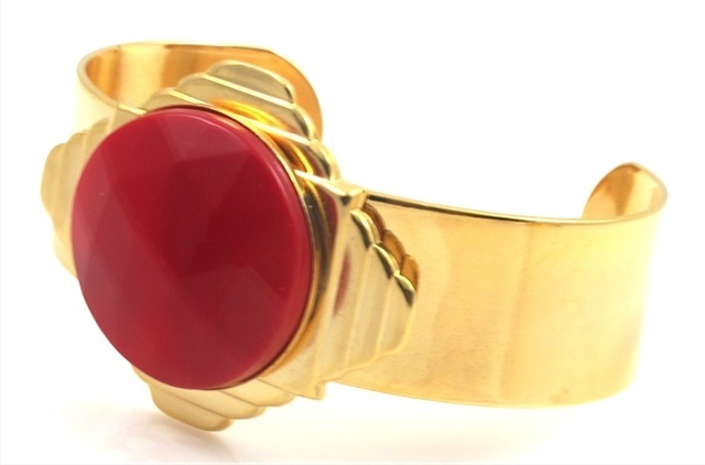 Vintage Red and Gold Art Deco Cuff