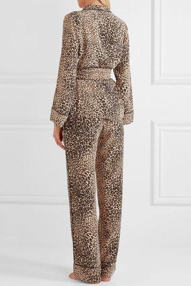 Equipment - Odette Leopard-print Washed-silk Pajama Set - Leopard print - x small