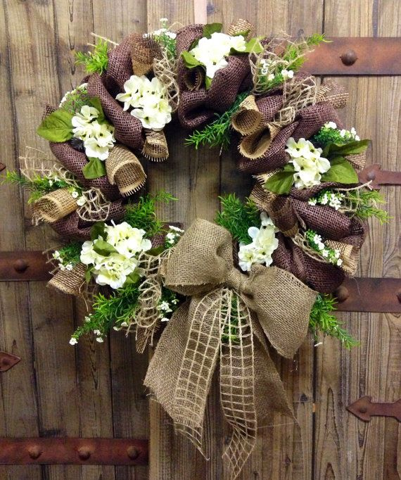 Burlap Mesh wreath by WilliamsFloral on Etsy, $70.00
