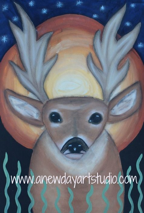 Deer painting, acrylic paint and pastel pencils.