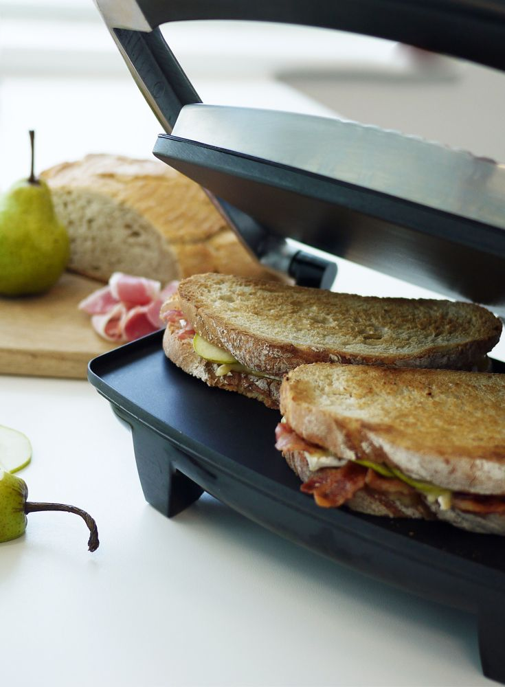 Pancetta, Brie and Pear Rustic Toasted Sandwich  http://www.turnonyourcreativity.com/recipes/pancetta-brie-pear-rustic-toasted-sandwich