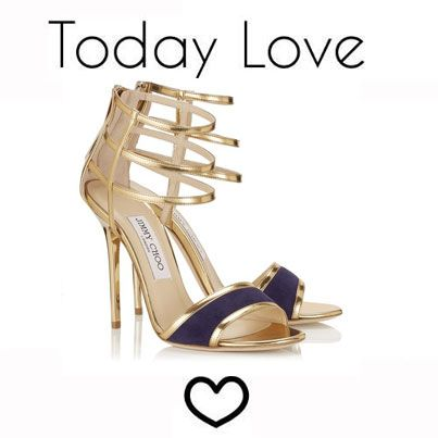 Jimmy Choo Tolka Gold Mirror Leather and Bilberry Patent Sandals. They know  shoes.