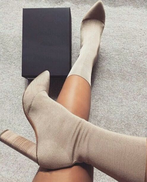 """Bourgeois"" Chunky Stretch Knit Kim K Style Ankle Boot"