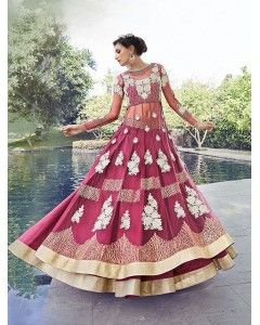 Red Violet Embroidered Lehenga