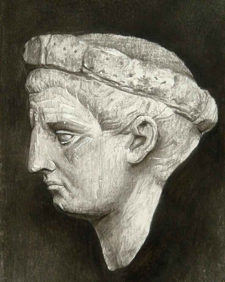 academic drawing Emperor Claudius. Plaster head antic. charcoal.