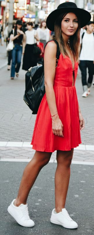 Alexandra Pereira + stand out from the crowd + gorgeous red summer dress + Majorelle + sneakers + wide brimmed hat + utterly unmissable style!   Dress: Majorelle, Sneakers: Anine Bing, Hat/Backpack: Asos.... | Style Inspiration