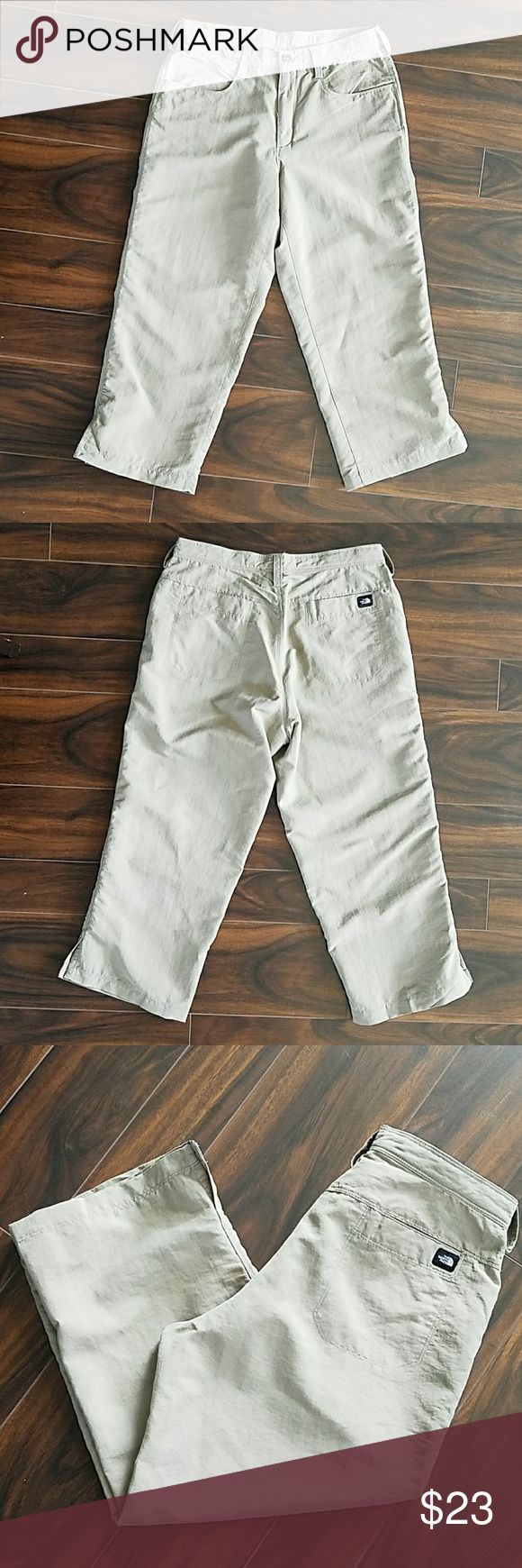 "North Face Khaki Capris North Face Khaki Capris. These are made of 100% nylon for a light and quick drying material. They are comfy and soft, ready for you to take on any summer or spring hike. Size 6, with a 22"" inseam. They have been worn once and are in great shape. North Face Pants Capris"