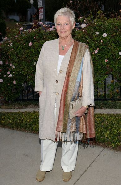 Judi Dench draped an earth-toned pashmina over her shoulder during the Britweek 2008 Champagne Launch for a full-on neutral look.