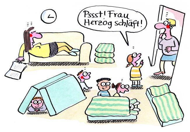 Kigaportal_Kindergarten_Cartoon_Renate-Alf_Mittagsschlaf
