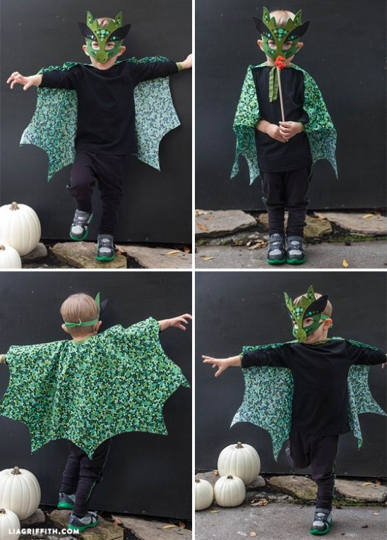 Homemade No-Sew dragon mask and cape for Halloween.I know there is one happy little dragon here in these photos and you could have one too. Pattern and tutorial athttp://liagriffith.com/homemade-halloween-costumes-no-sew-dragon-mask-and-cape/
