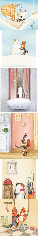 #昱文漫画课堂##御风者漫画学习班#前南斯拉夫插画师 Bojana Dimitrovski的儿童插画作品欣赏,喵先生的美好生活……你家的宠物生活的咋样捏,看《色铅笔绘画启蒙丛书--色铅笔的宠物生活》画宠物生活哦~