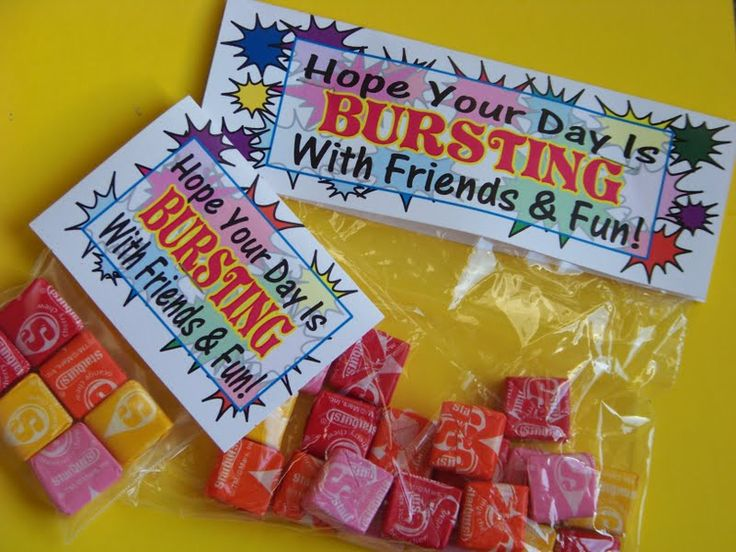 "Back to school treat for kiddos: ""Hope Your Day is Bursting with Friends & Fun!"""