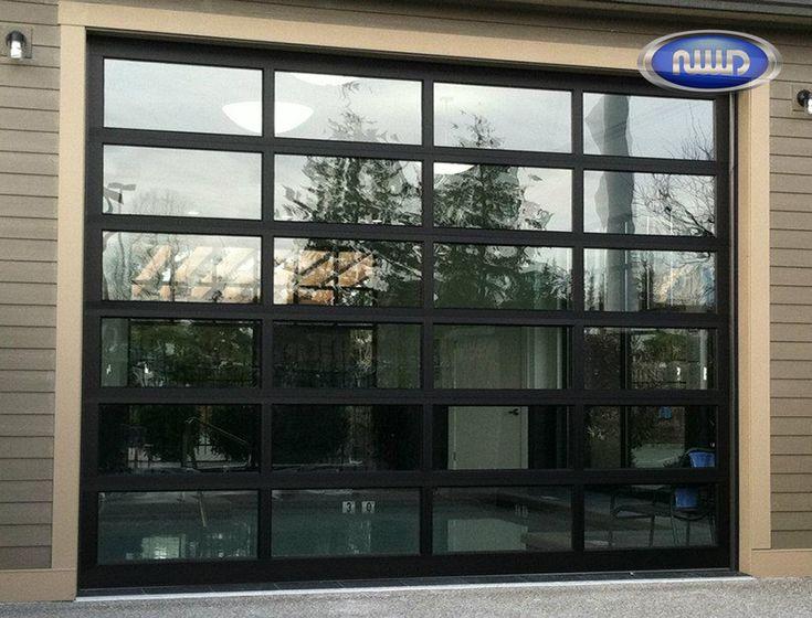Captivating Modern Classic MC64 Dark Bronze Anodized Finish   Clear Glass   Oversized Garage  Door