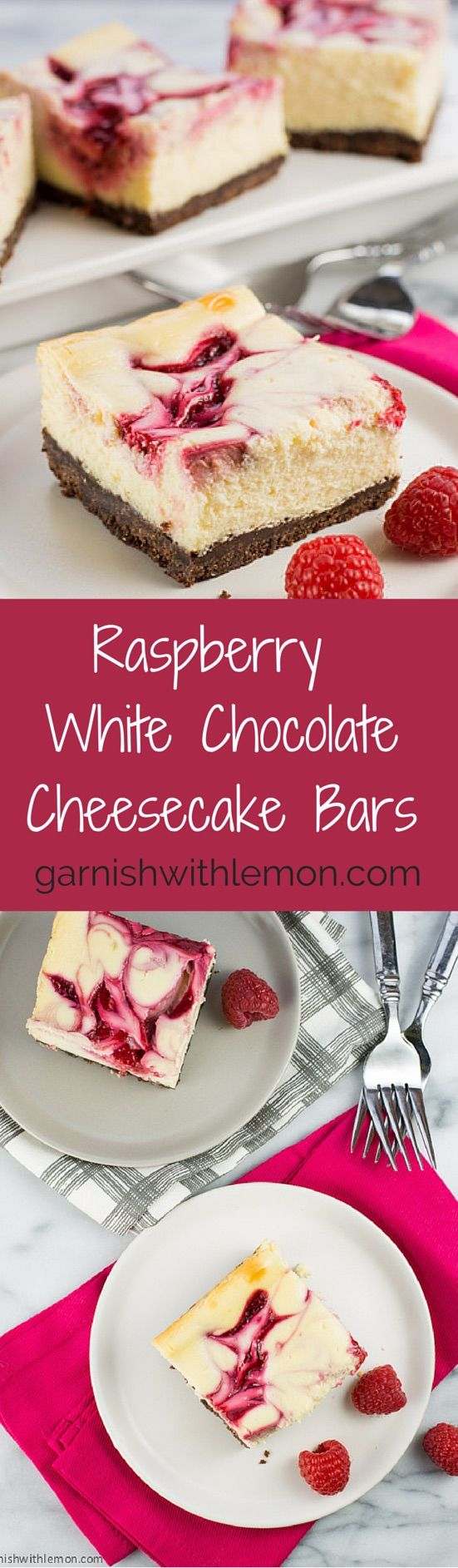 Raspberry White Chocolate Cheesecake Bars ~ http://www.garnishwithlemon.com