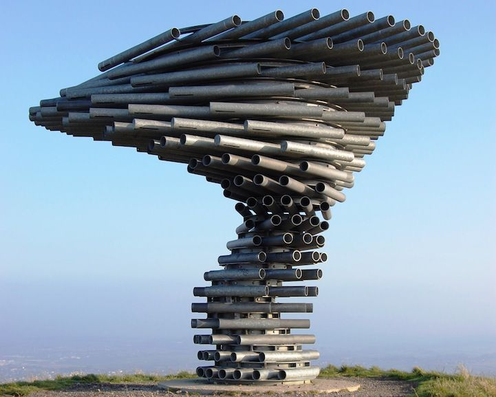 I need to visit! Singing Steel Tree Sculpture, it overlooks the town of Burnley in Lancashire, England