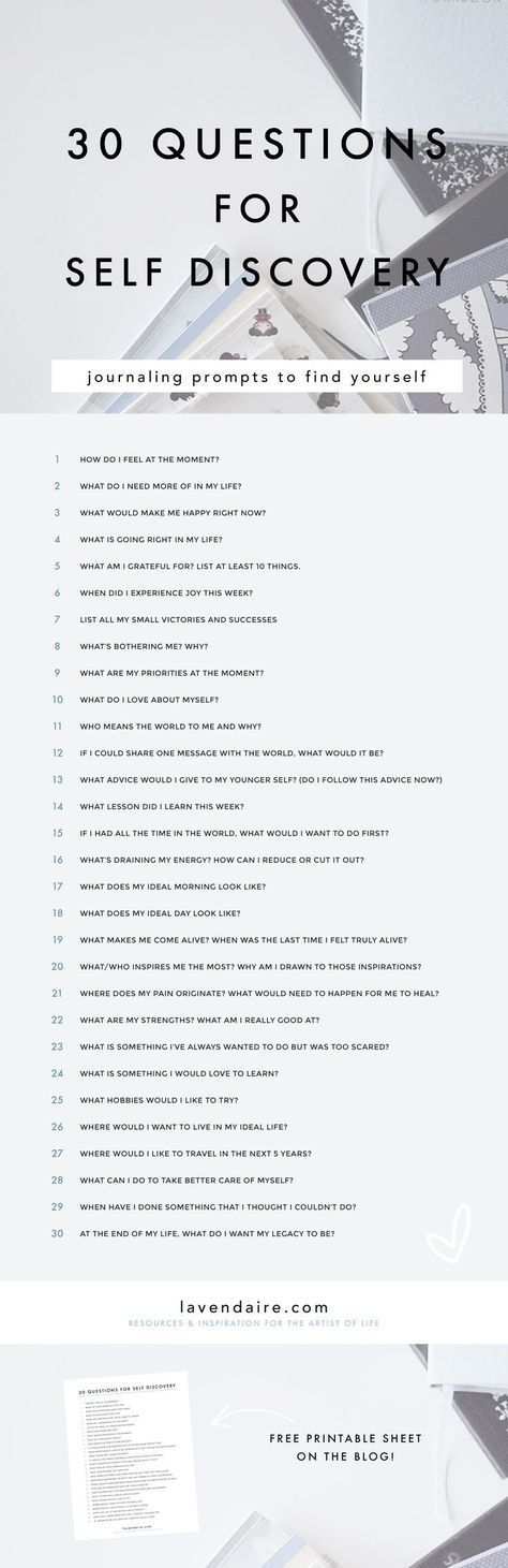 Journaling | Journaling Ideas | Journal prompts | Questions for self discovery :: CLICK to download the full list! Self Improvement | Personal Growth | How to Journal | Lavendaire | Free worksheet