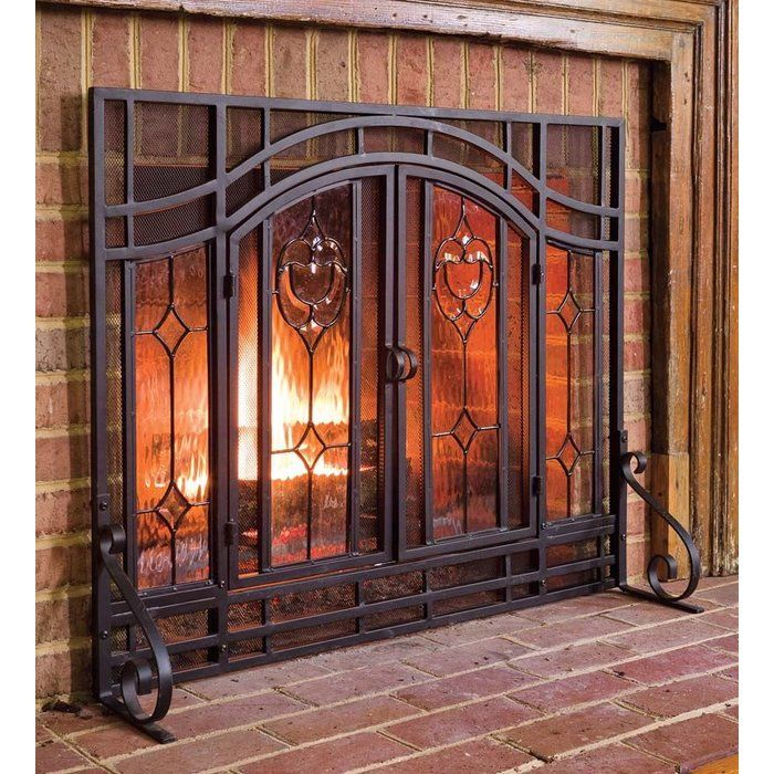 2 Door Single Panel Steel Fireplace Screen Fireplace Screens With Doors Fireplace Screens Fireplace Doors