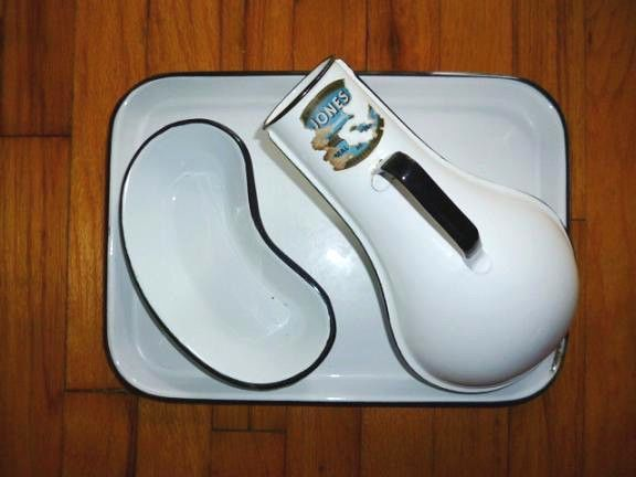 Antique White Enamel Medical Set JONES Urinal Kidney Dish Bowl Basin Lunch Tray #Libby