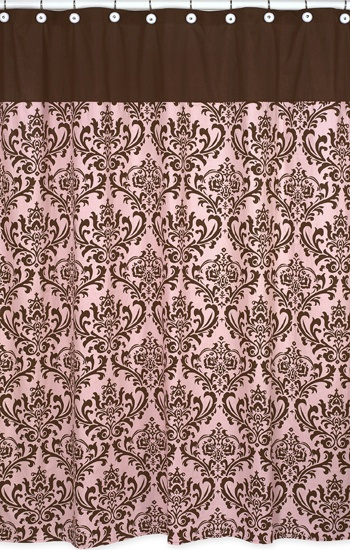 nicole shower curtain sweet jojo designs pink and brown damask shower curtain http www. Black Bedroom Furniture Sets. Home Design Ideas