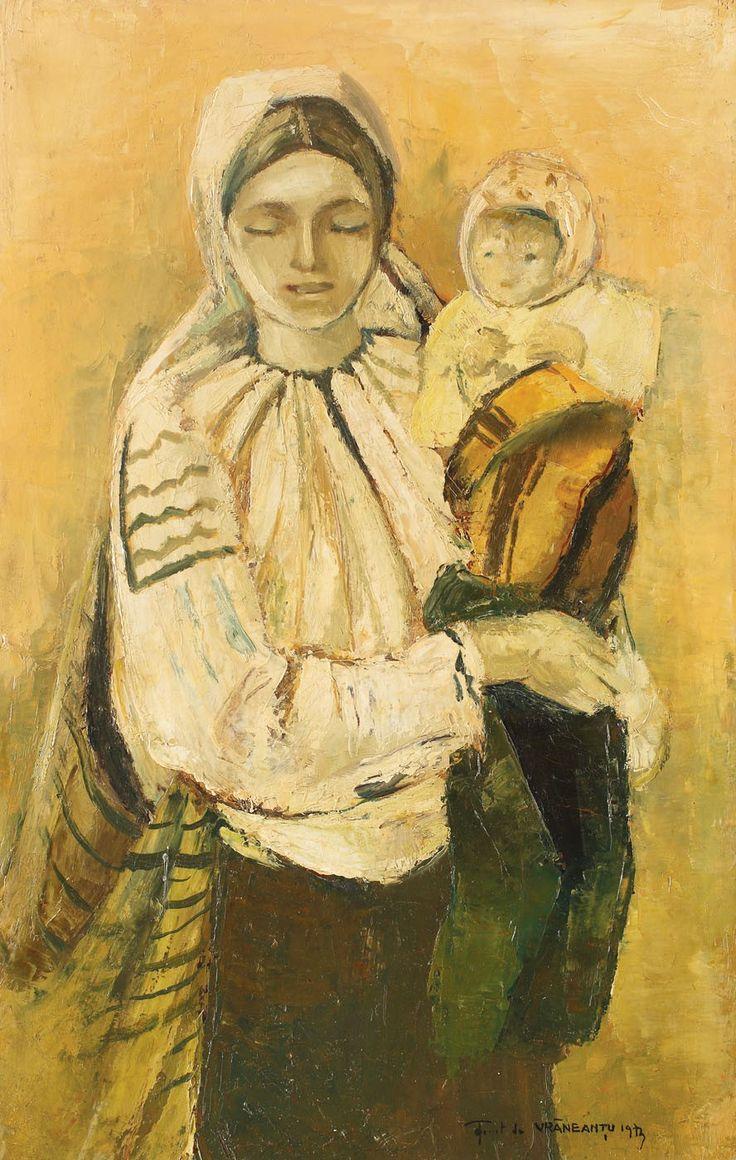 Gheorghe Vrăneanţu, Maternitate - ulei pe pânză, 33 × 21 cm, semnat şi datat dreapta jos, cu negru, făcut de VRĂNEANŢU, 1973