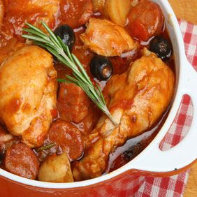 Portuguese Stewed Chicken A simple, one-pot meal where you literally brown the chicken, pour all of the ingredients into the pot, cover and set the timer.  It doesn't get easier than that!