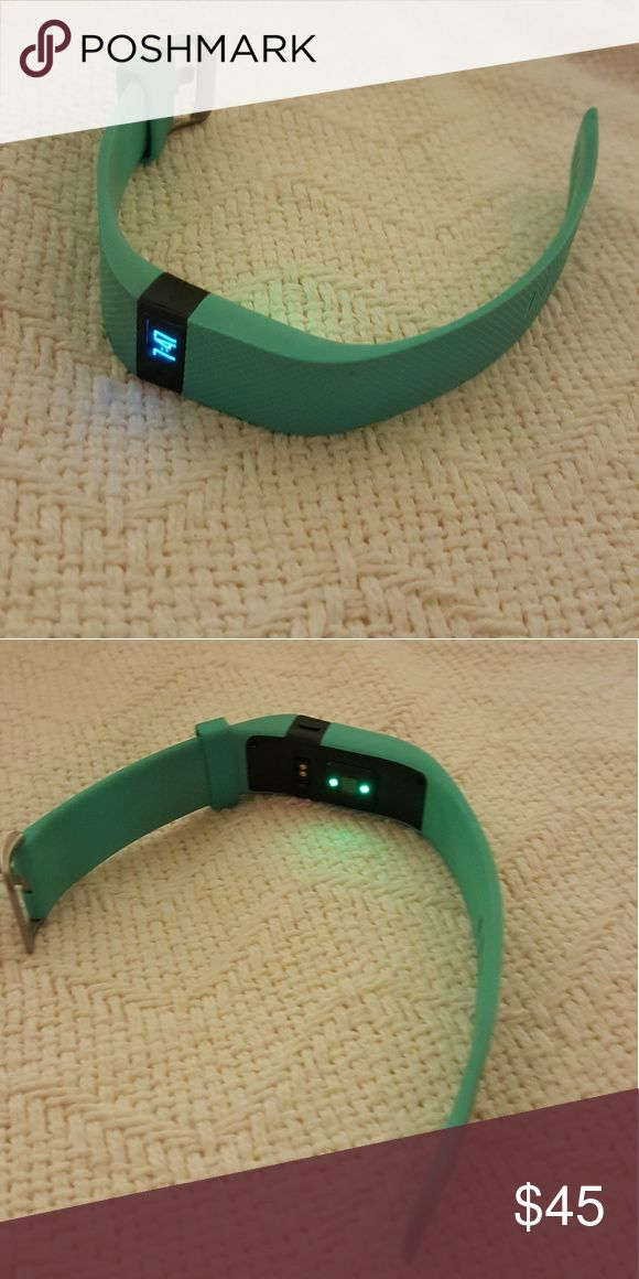 Teal Fitbit Charge HR EUC. Size large, teal, works great! Dongle, box, and instructions included Fitbit Accessories