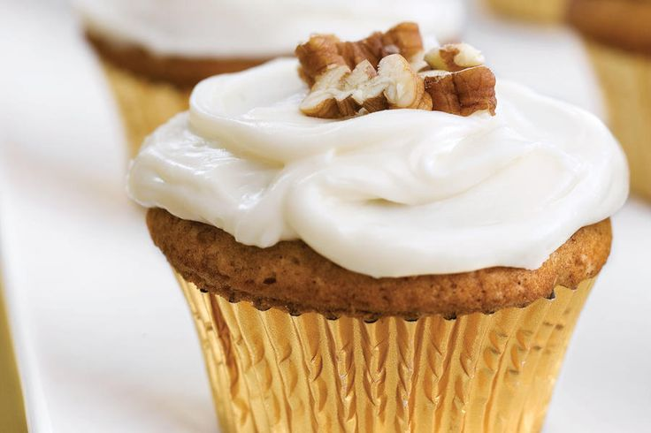 Sweet Potato-Pecan Cupcakes With Cream Cheese Frosting  - 23 Ways with Sweet Potatoes - Southernliving. Recipe: Sweet Potato-Pecan Cupcakes With Cream Cheese Frosting Talk about a crowd pleaser. Don't blink, or these will disappear from the dessert table before you can try one. You should definitely keep this family favorite around for the holiday season. Mashed sweet potatoes give the cupcake extra moistness, while a myriad of spices including cinnamon and nutmeg spice up the traditionally…