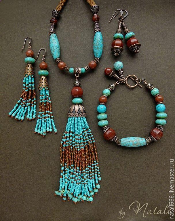 Купить Браслет Kahula - яшма, турквенит, чешское стекло - яшма, браслет с яшмой, украшения с яшмой