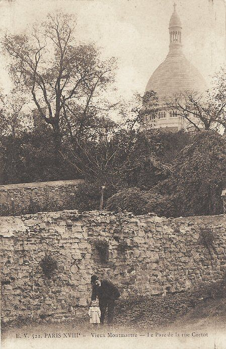 Rue Cortot vers 1900 >>> Paris' Rue Cortot around 1900, with Sacre-Coeur atop Montmartre hill in the background. Still a pretty rough and ready-looking place at that stage, at least in sections like this. It would be great to contrast it with a modern map from the same vantage point - but I'll bet the basilica isn't even visible now due to buildings in the way.