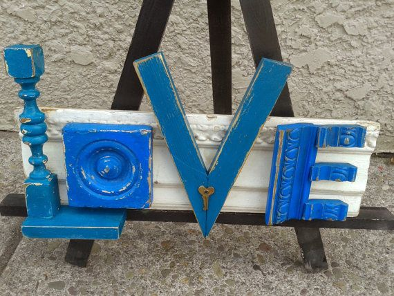 224 best letters words images on pinterest love signs this love sign is made with salvaged crown molding wooden picture frames architectural bullseye reclaimed wood and a vintage heart shaped thecheapjerseys Gallery