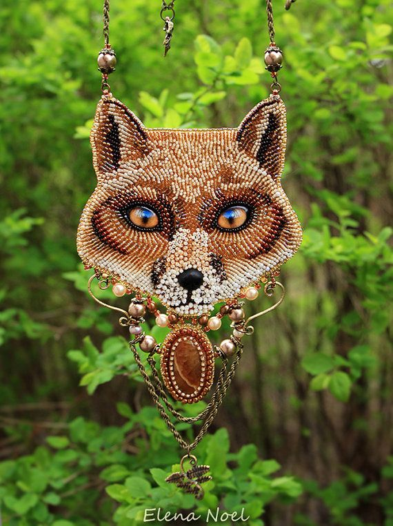 Sly fox. Necklace Bead Embroidery Art by ElenNoel on Etsy