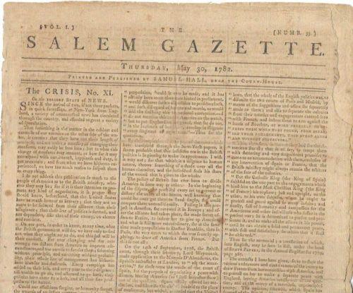 The-Salem-Gazette-Newspaper-May-30-1782-The-Crisis-Thomas-Paine-Revolution