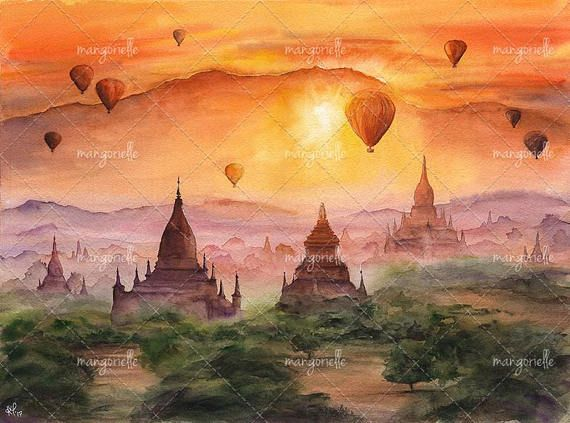 Hypnotizing and mysterious plains of Bagan, Myanmar with floating air balloons at sunset :) When I was painting this landscape I wanted to represent those magnificent golden hours before sunset)  Size: 15,74 x 11,81 inches (40 х 30 cm, including white frame – 1 cm) Medium: lightfast watercolors, Canson Moulin du Roy paper 100%, cotton, 300 g/m2  Painting is not framed, because the framing will increase the cost of the artwork and its shipping. But if you need a painting framed in a passe...